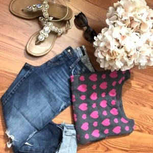 Pink and Gray Heart Print Sweater